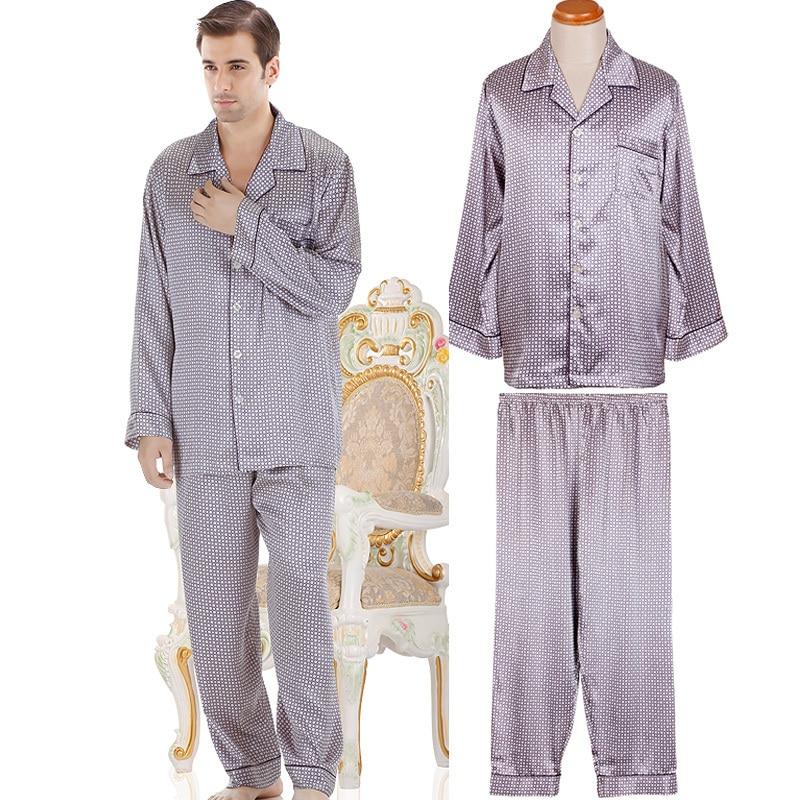 2013 NWT autumn male mens silk satin pajamas sets long-sleeve sleepwear nightwear 2 pc top trousers twinset lounge pants 66003