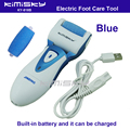 Blue USB smooth strong electric pedicure tool /  rechargeable waterproof Foot Care Tool +2pcs For scholls funcdion roller heads