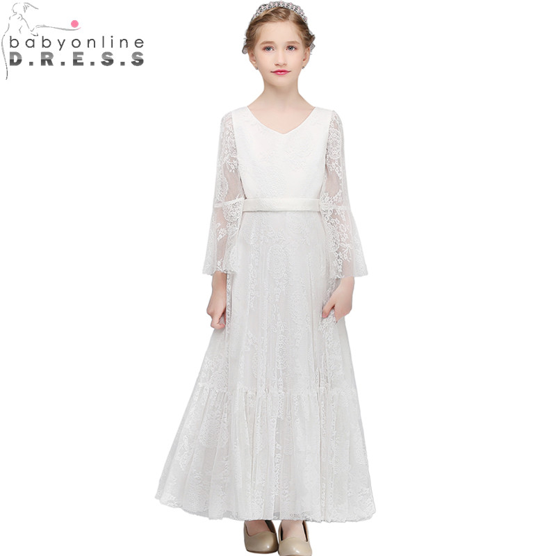 Bohemian Lace Long Sleeve Ivory   Flower     Girl     Dresses   Sweet First Communion   Dresses   for   Girls   Graduation Gowns Children