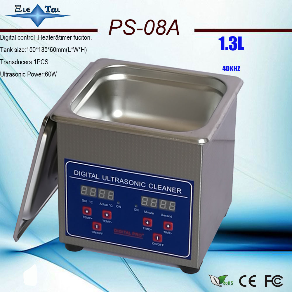110V/220V PS-08A 60W Digital timer&heater Ultrasonic Cleaner 1.3L for small parts wiht free basket