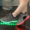 Crianças Recarregável USB Led Sapatilhas Leves Crianças Levaram Sapatos Tecer Moda Sneaker para Meninos e Meninas Sapatos Casuais Miúdo