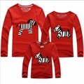 Free Shipping 1PC Family T Shirts Sets Mom And Son Dad And Daughter Autumn O-Neck Long Sleeved Fitted Cotton Children's Hot Sale