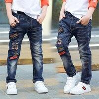 Classic autunno della molla dei bambini infantili morbido denim ragazzo O una ragazza dei jeans pantaloni casual, Ragazzo dei jeans di patch. 3 5 7 8 10 12 14 anni