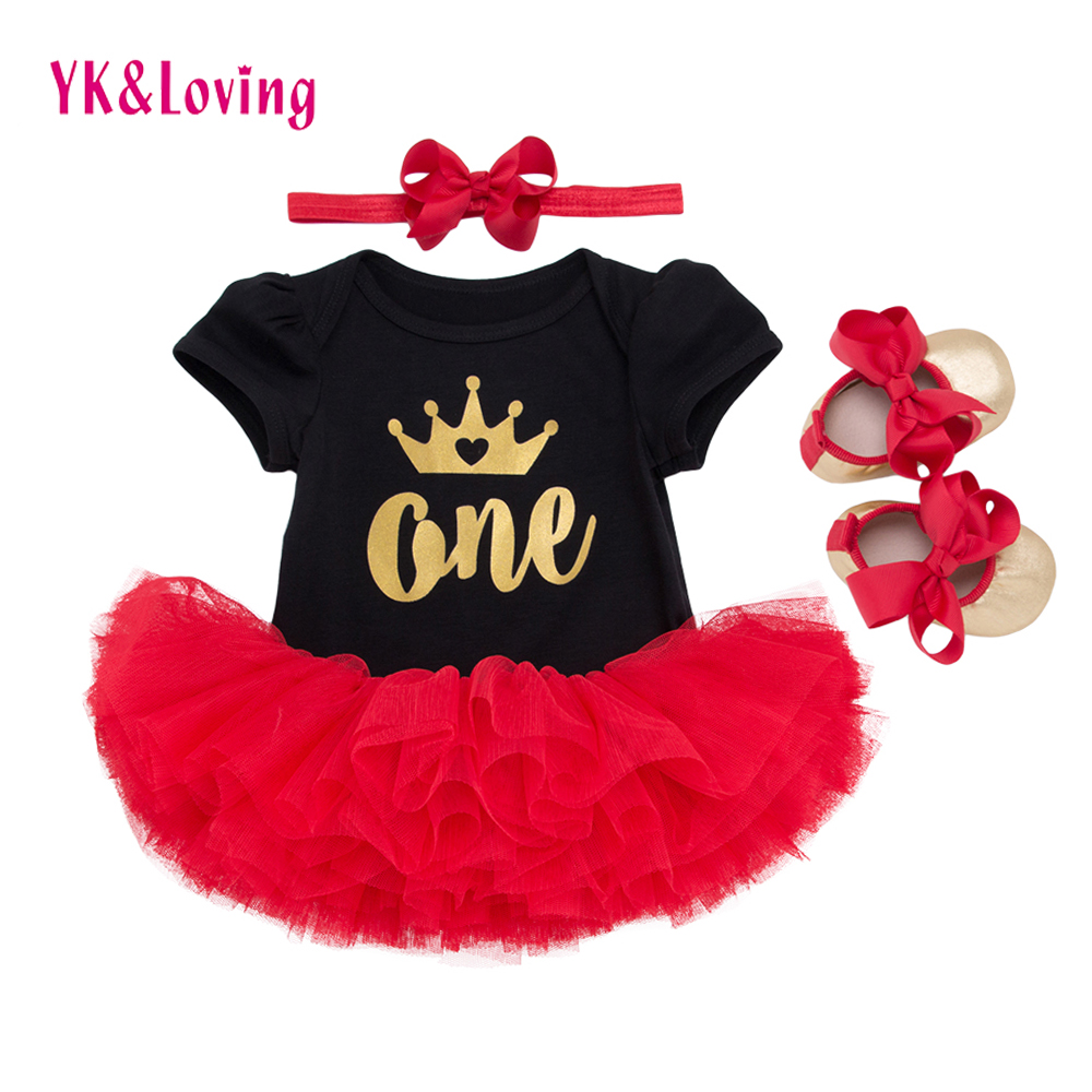Birthday One Two year Party Baby Clothing Set Infant Girl Letter Cotton Black Short Rompers Red tutu skirts Shoes Headband 4pcs 2018 baby infant newborn girl winter princess dress headband outwear 3pcs set new born 1 2 year birthday party tutu dress