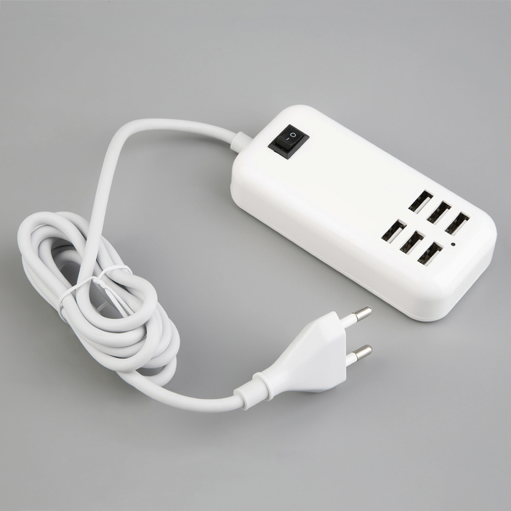 Portable 6 Port USB Wall Charger US EU Plug Adapter 5V 3A with Switch For SmartPhone Tablet Camera