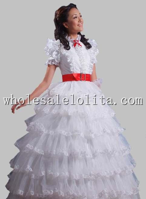 Красивое чистое белое/небесно-голубая органза принцесса многослойное платье - Цвет: Белый