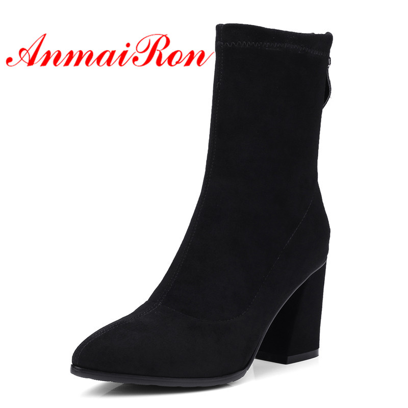 ANMAIRON Women Ankle Boots Pointed Toe Shoes Size 34-40 High Heels Thick Heel Fashion Boots Female Winter Boots Zip Flock CR740ANMAIRON Women Ankle Boots Pointed Toe Shoes Size 34-40 High Heels Thick Heel Fashion Boots Female Winter Boots Zip Flock CR740
