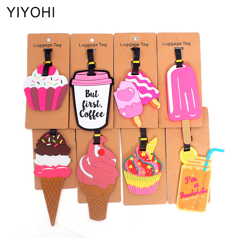 Cute Ice Cream Travel Accessories Creative Luggage Tag Silica Gel Suitcase ID Addres Holder Baggage Boarding Tags Portable Label ice cream silica gel mold