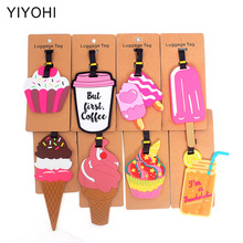 Cute Ice Cream Travel Accessories Creative Luggage Tag Silica Gel Suitcase ID Addres Holder Baggage Boarding Tags Portable Label travel accessories luggage tag fashion map silica gel suitcase id address holder cute baggage boarding tag portable label