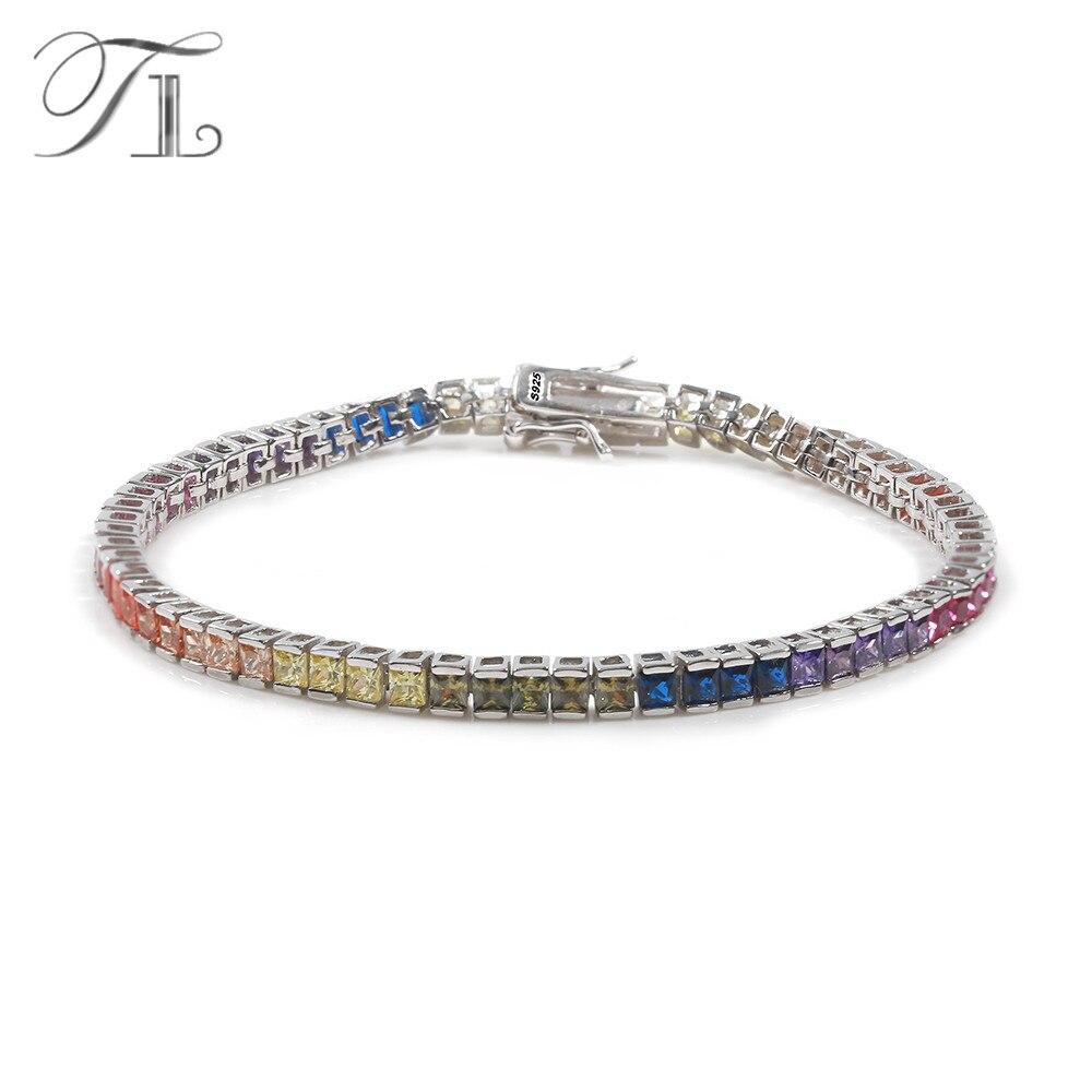TL Réel 925-Sterling-Silver Bracelet Bracelets Pour Les Femmes Inlay Avec Cut Multi-couleur Cubique Zircone Cristal Bracelet Bijoux En Argent