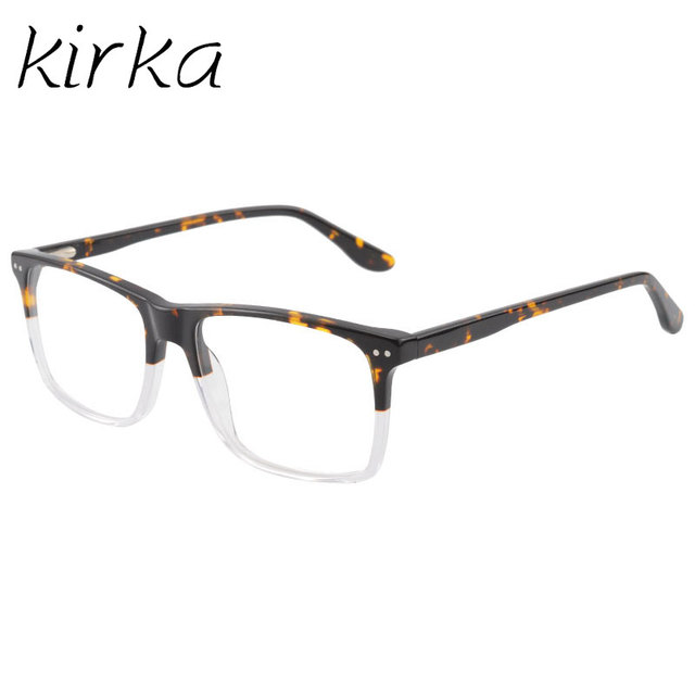 edd3e20641 Kirka Leisure Type Rivet Men Eyewear Frame Tortoise Myopia Prescription  Optic Glasses Frame With Clear Lens