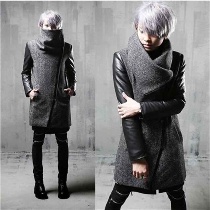 Hiver hommes incliné zipper cuir patchwork laine trench manteau long veste hommes slim fit punk hip hop manteau gothique chaud vestes