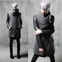 Winter men inclined zipper leather patchwork woolen trench coat long jacket men slim fit punk hip hop coat gothic warm jackets
