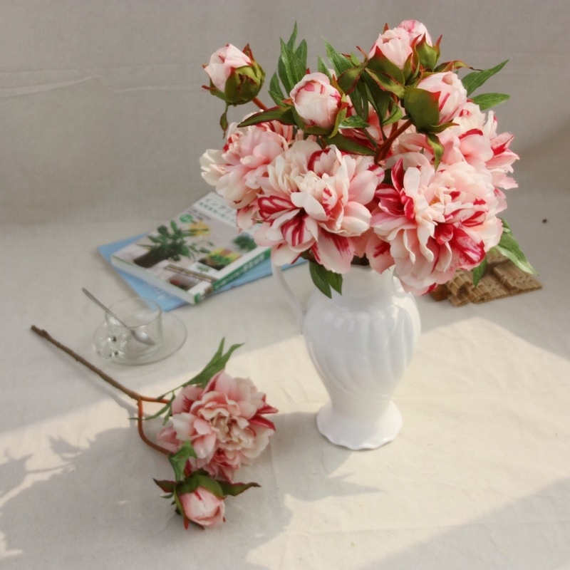 Real touch european rich rose painting peony artificial real touch european rich rose painting peony artificial vivid peony silk flowers fake leaf wedding home party decoration mightylinksfo