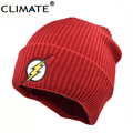 Hot New DC The Flash man Hero Barry Allen Embroidery Winter Hats Soft Solid Beanie HipHop Warm Knitted Caps Gorros For Men Women