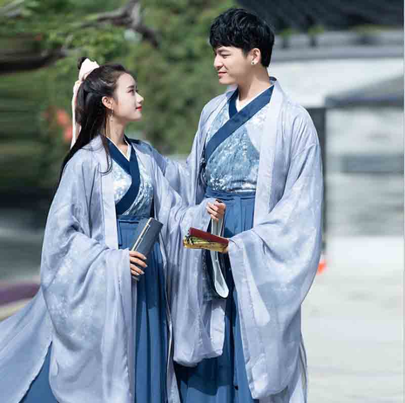 Adult Couples Blue Hanfu Set Deluxe Traditional Chinese Fancy Dress Couple Halloween Cosplay Costume For Men/Women Plus Size 2XL
