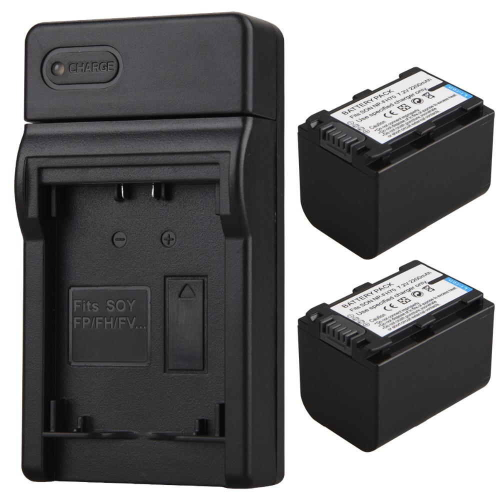 2pc 2200mAh NP-FH70 Camera Battery + USB Charger For <font><b>Sony</b></font> NP-FH30 NP-FH40 NP-FH60 NP-FH50 NP-FH70 HDR-<font><b>CX110</b></font>,CX150 HDR-SR HDR-XR image