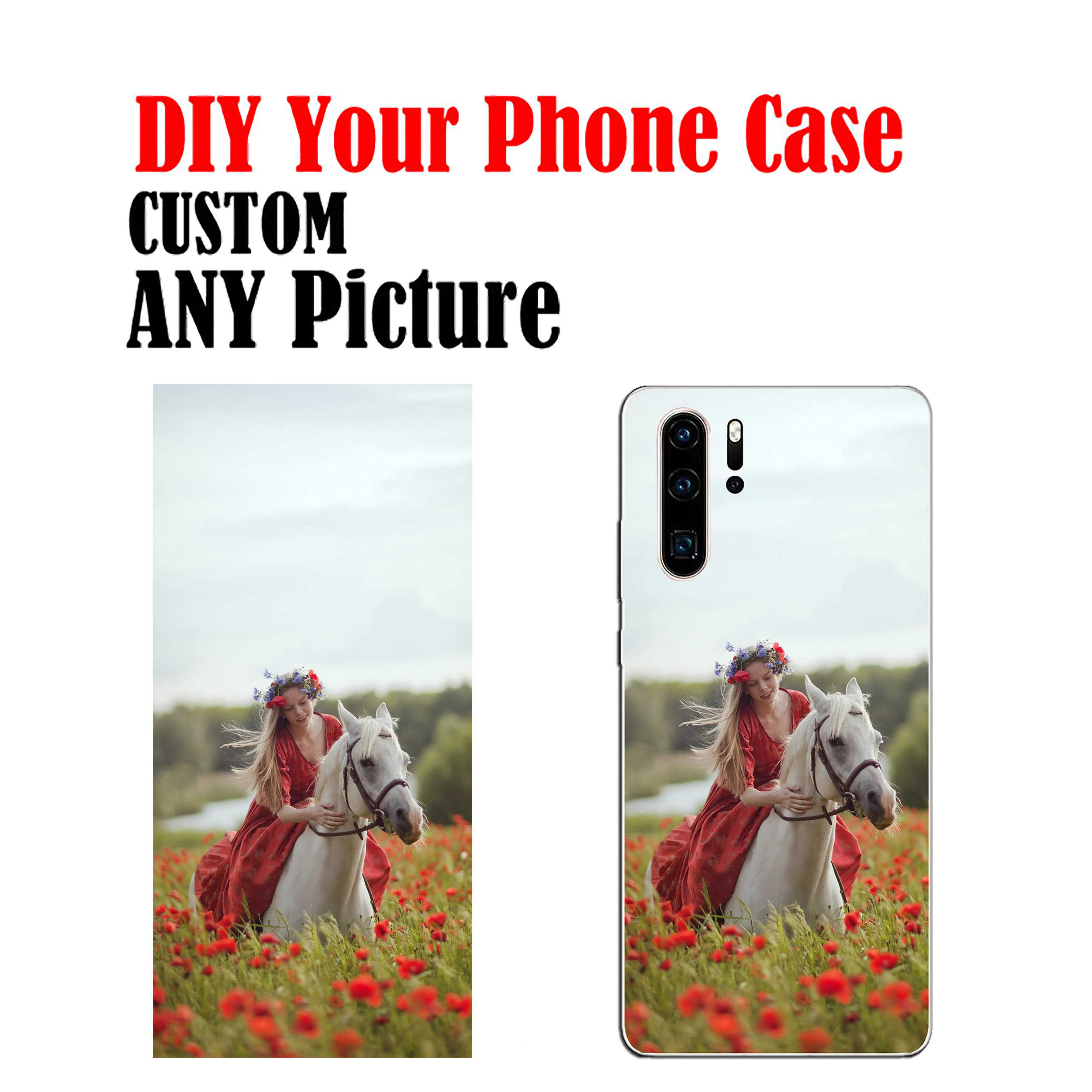 DIY Photo Name Text Customized Soft Cell Phone Case Cover Shell Coque for HUAWEI y6 y7 y9 2018 Y6 Pro 2017 Y5 Prime 2018