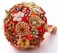 8-дюймовый пользовательские свадебный букет, Индийском стиле букет из красных и золотых, красный и золотой невесты свадебные букеты, Брошь букет