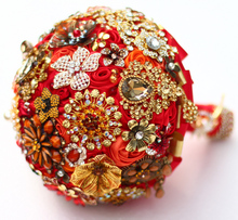 8-inch custom bridal bouquet,Indian-style bouquet of red and gold, red and gold wedding bridesmaid bouquets,Brooch bouquet