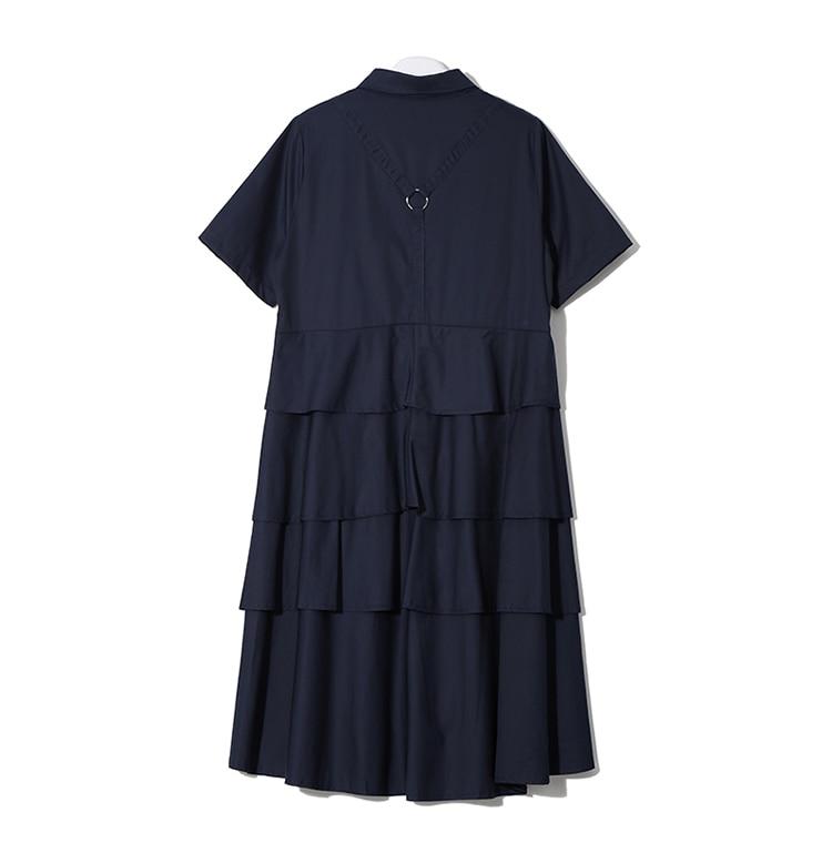 Mulheres Azul Marinho Vestido Camisa Manga Comprida