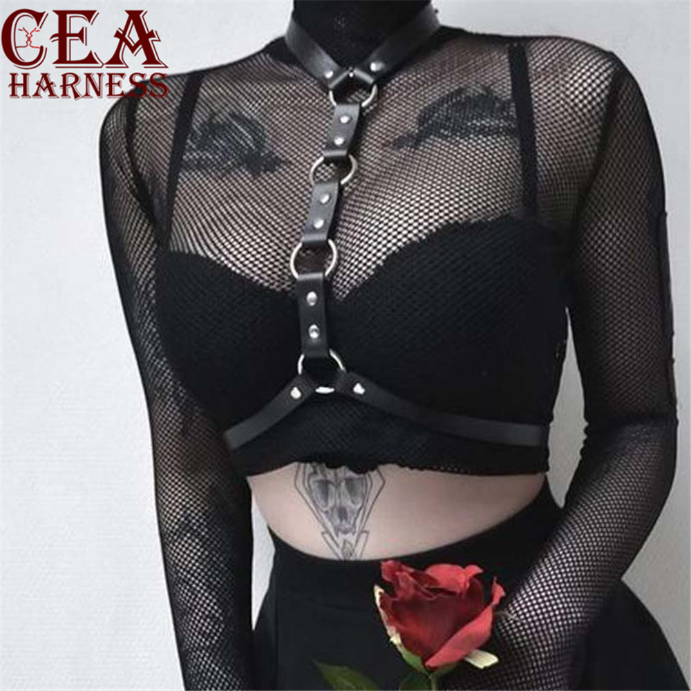 CEA.HARNESS New Leather Harness Sexy Chest Sculpting Body Waist   Belt   Punk Gothic Sexy Bra BODY Bondage PU Leather Waist   Belts