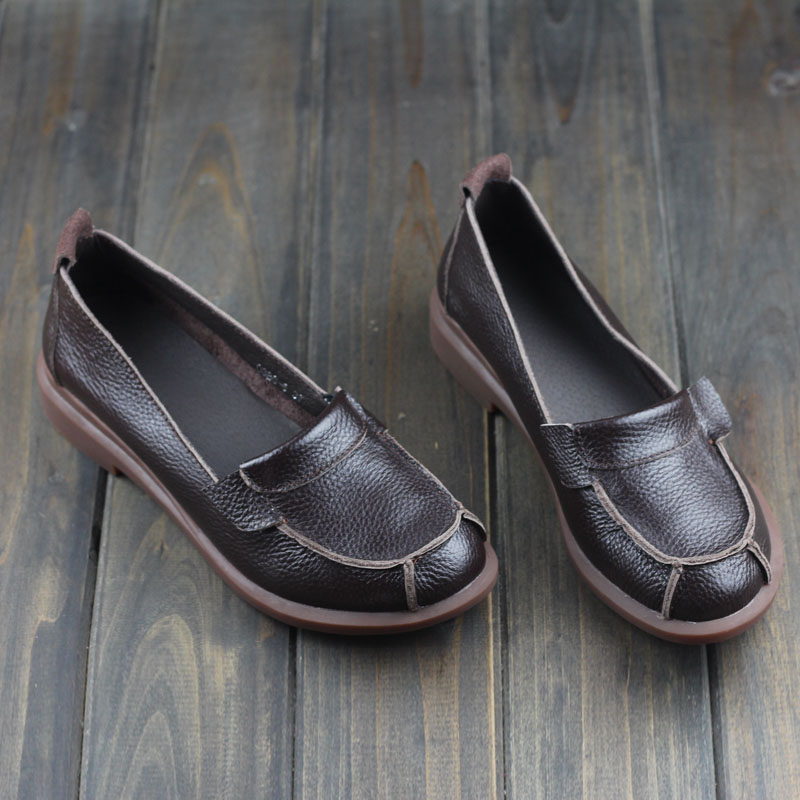 Spring Shoes Women Leather Flat Shoes Genuine Leather Slip on Loafers Ladies Moccasins 2016 Fashion Footwear  (0386-8) pl us size 38 47 handmade genuine leather mens shoes casual men loafers fashion breathable driving shoes slip on moccasins