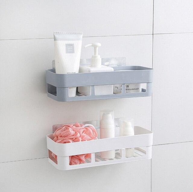 Unikiwi Bathroom Shelf Wall Rack Plastic Shower Caddy Organizer Holder Tray  With Suction Cups Lotion Storage