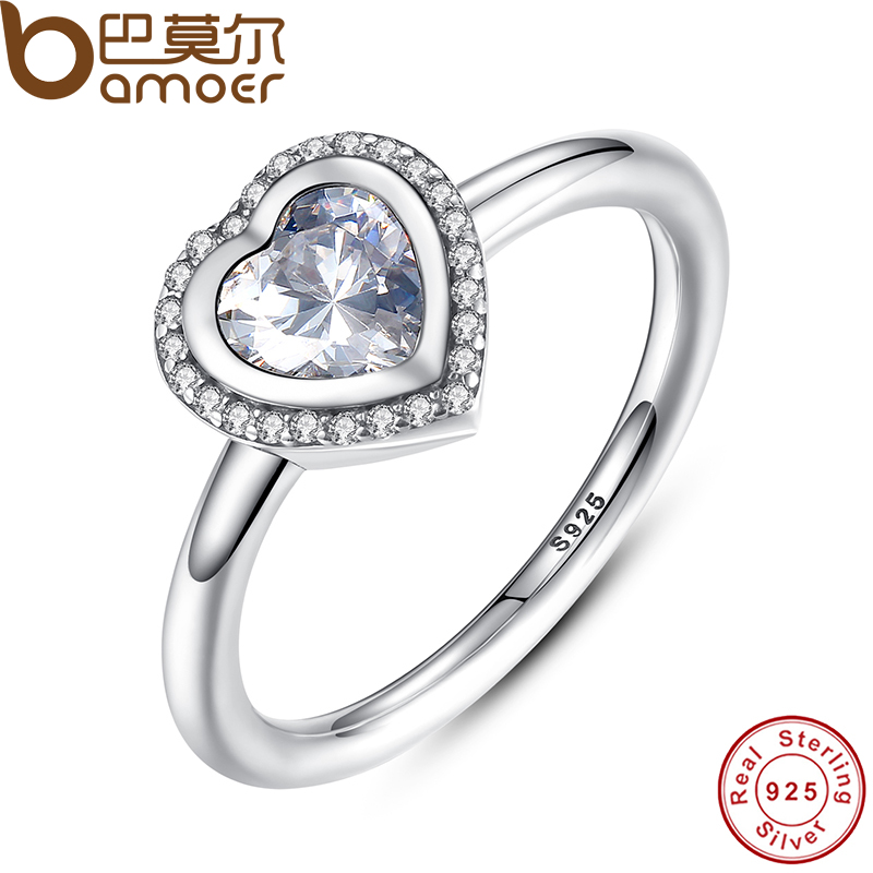 Imported From Abroad Bamoer Spring Collection 925 Sterling Silver Sparkling Love Heart Ring Women Jewelry Saint Valentine's Day Gift Pa7135