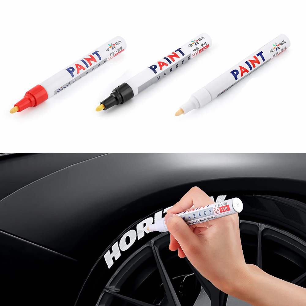 1 Piece Waterproof Car Wheel Tire Oily Car Paint Pen Painting Mark Pen Auto Rubber Tyre Tread CD Metal Permanent Paint Marker