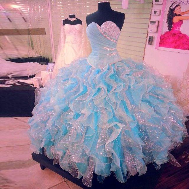 Lujo personalizada luz cristalina larga del corsé populares vestidos azul y White Glitter costosos nuevos trajes de noche de las muchachas