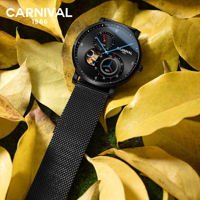 카니발 남자 패션 비즈니스 중공업 다이얼 스틸 시계 밴드 3bar 방수 컨셉 다이얼 자동 자체 바람 기계식 시계-에서기계식 시계부터 시계 의  그룹 2
