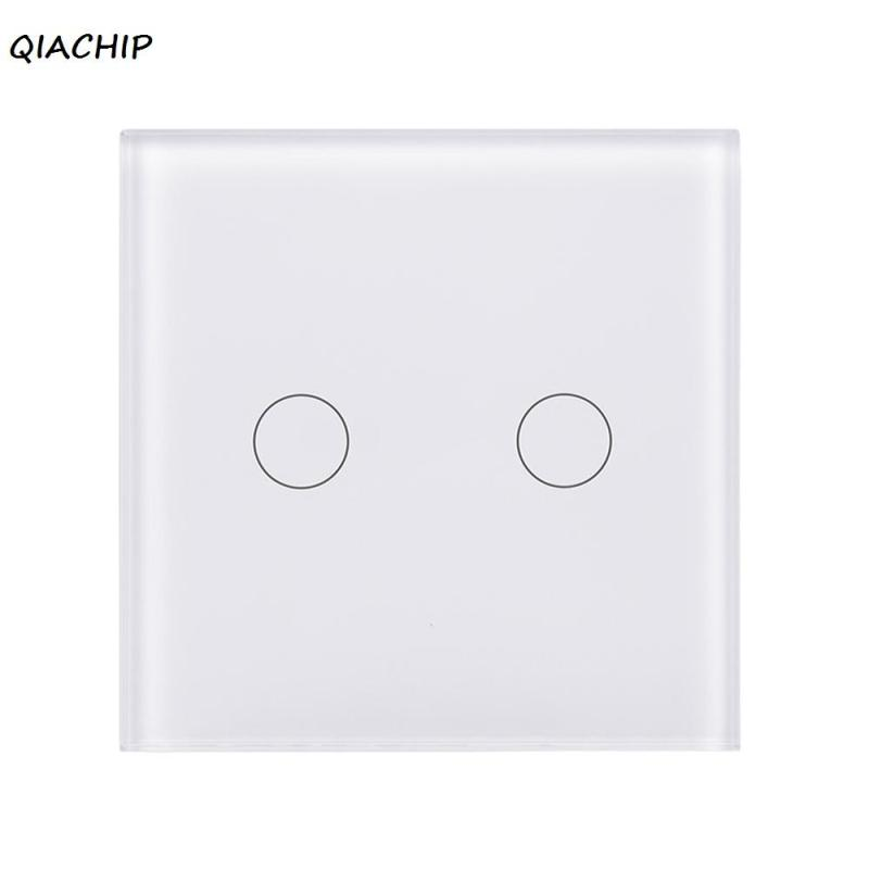 UK Plug WiFi Smart 2 Gang Light Wall Switch White Touch Crystal Tempered Glass Panel Sensor Switch APP Control For Amazon Alexa uk standard 3gang1way sankou led touch switches white crystal glass panel light wall switch smart home ac220v 110v