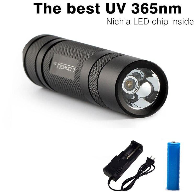 Convoy S2 + Schwarz UV 365nm Led Taschenlampe, nichia 365UV in seite, UV Lampe Licht OP reflektor, fluoreszierende Mittel Erkennung