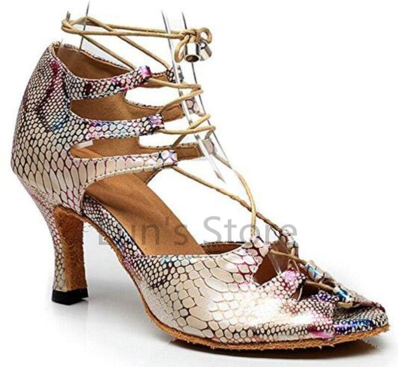 New Free Shipping Snakeskin Print Open Toe font b Dance b font Shoe Ballroom Salsa Latin