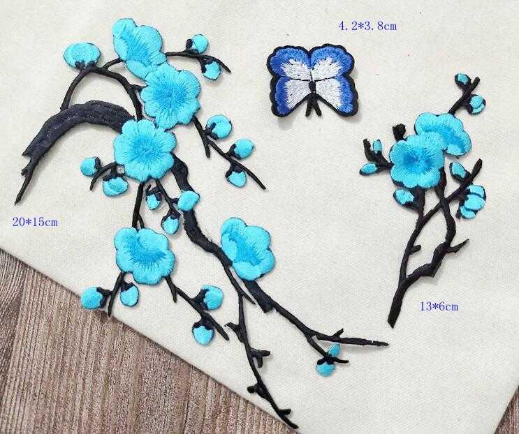 MIX3 apliques bordados ciruela flores parches de hierro en transferencia para ropa pegatina para ropa vestido de novia costura proveedores