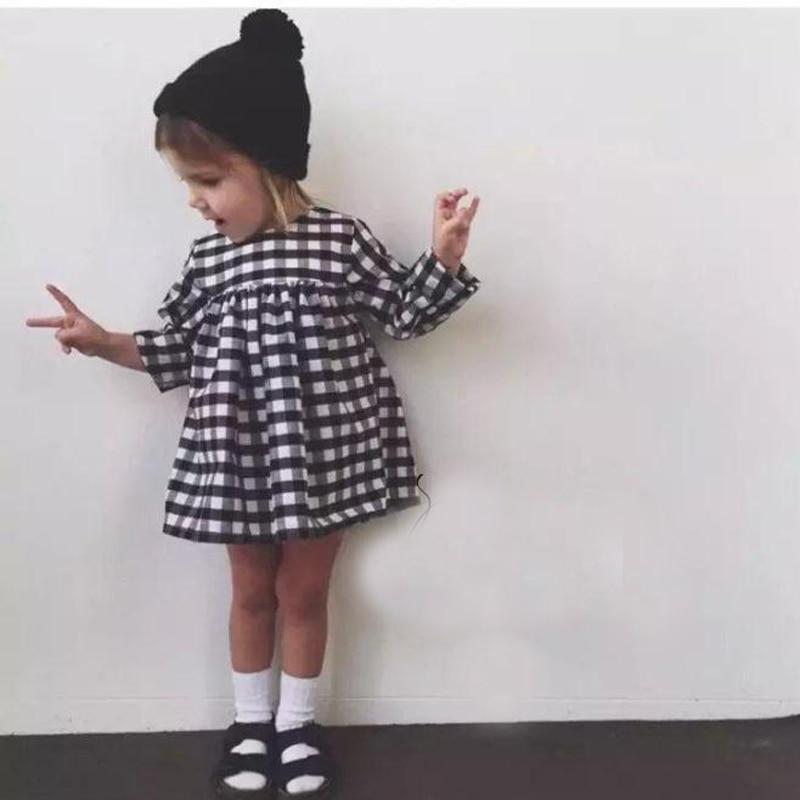 New 2017 Baby Girls Dress Costume For Girls Long Sleeve Plaid European Vestido Vetement Children Dresses Kids Party Clothing