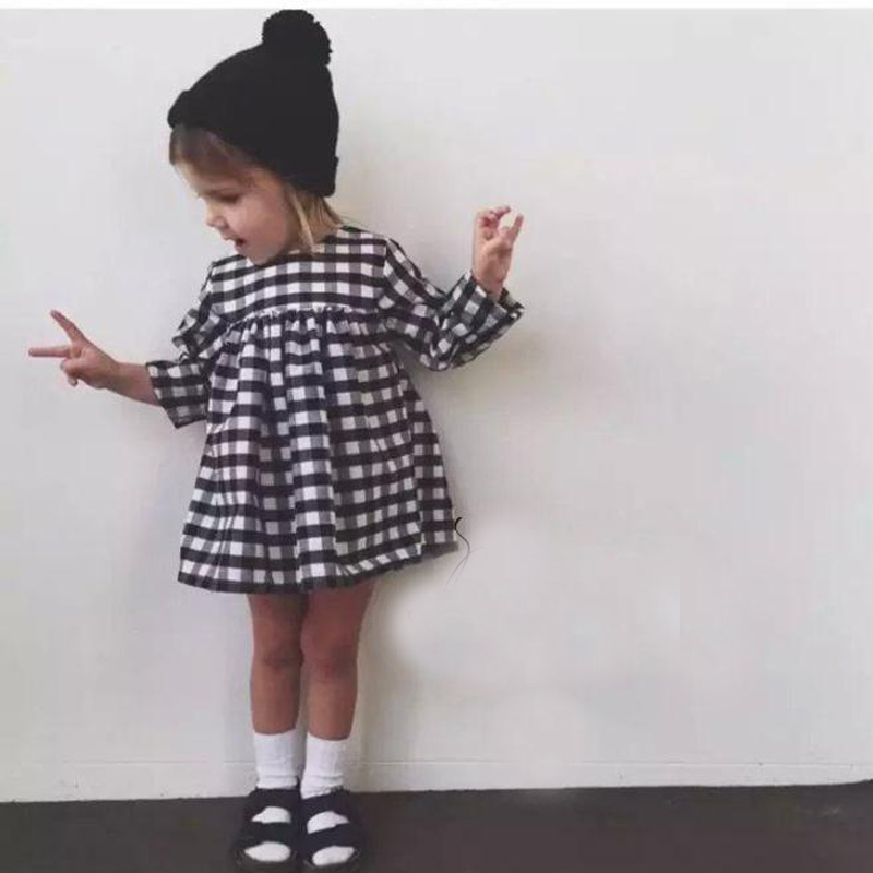 New 2017 Baby Girls Dress Costume For Girls Long Sleeve Plaid European Vestido Vetement Children Dresses Kids Party Clothing 2017 new girls dresses for party and wedding baby girl princess dress costume vestido children clothing black white 2t 3t 4t 5t