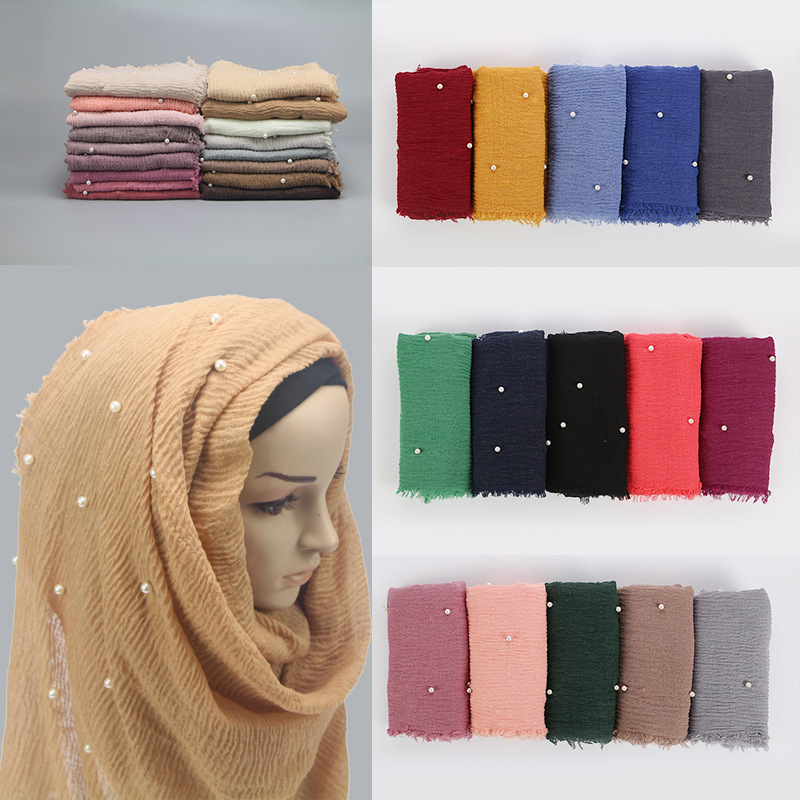 Cotton yarn pearl headscarf popular style women plain chiffon   scarf   hijab   wrap   solid color shawls headband muslim hijabs   scarves