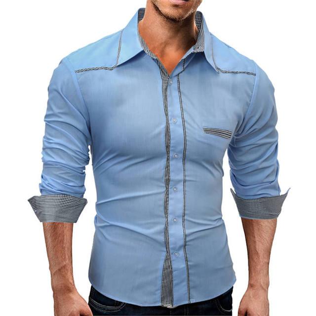 Nova Camisa Dos Homens de Qualidade Superior Camisa Social Ocasional Slim  Fit Gingham Camisa masculina Top 6caefa4b90b04
