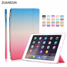 Фотография Rainbow case for iPad air 2 Luxury Smart Wake Sleep Folio Stand Smart three fold Silk For iPad 6 Leather Case Cover