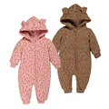 Winter baby clothes infantil Cotton thick Warm long sleeve Rompers Hooded Leopard Jumpsuit Outfits