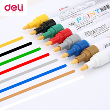 Deli 1 PCS Permanent Marker White Paint Pens Assorted Colors Markers Stationery school & office Supplies Mark pen 8 color