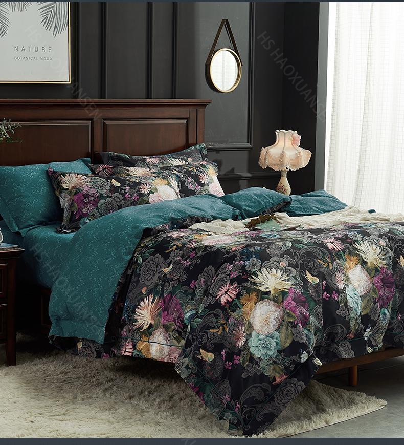 Hs Black 3d Floral Print Bedding Sets Duvet Cover Bed Linen And