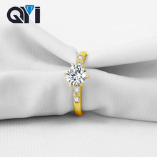 QYI 100% 14K Solid Yellow Gold Wedding Ring Luxury Sona Simulated Diamond Jewelry Solitaire Engagement Rings For Women
