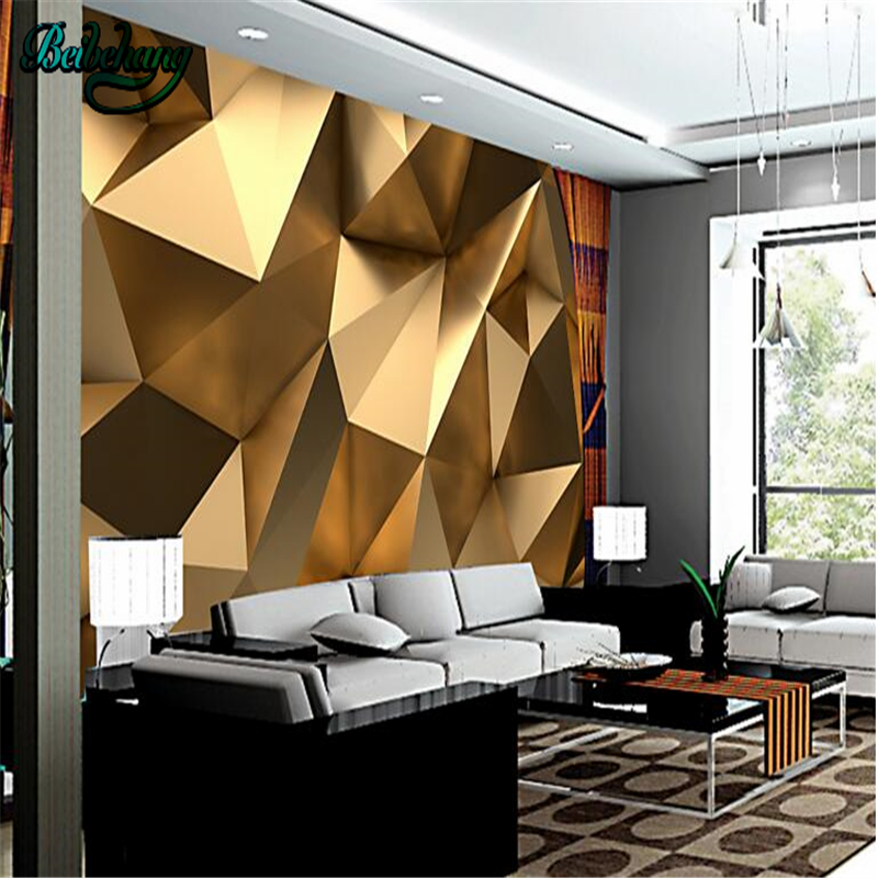 Beibehang Customized Large Wallpaper Mural Stereo Abstraction Building Space Tuhao Gold Polygonal Ball TV Backdrop Wall