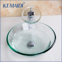 New Arrival Chrome Polished Bathroom Glass Vessel With Pop Up Drain Glass Basin Sink Set Concise