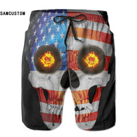 SAMCUSTOM mens perspiration quick dry ultra-light breathable USA FLag Skull shorts gmy shorts beach shorts