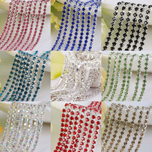 Hot sale 1M/lot Transparent AB Rhinestone Chain Silver Bottom Sew on Cup Chains For DIY Craft Sewing Clothes Accessories