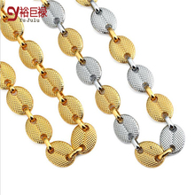 купить Hiphop Men's Chain Two Tone Cuban Chains Necklace 18 k between thick plating gold ingot HIPHOP chain necklace For Men/Women дешево